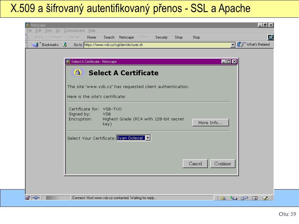 Obr. 59 X.509 a šifrovaný autentifikovaný přenos - SSL a Apache