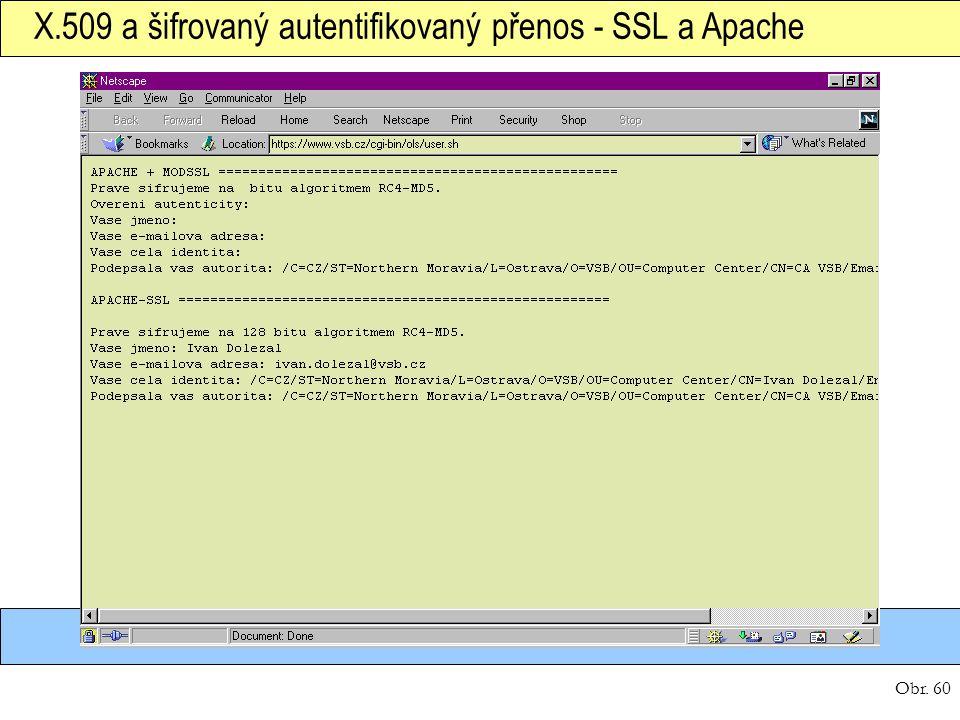 Obr. 60 X.509 a šifrovaný autentifikovaný přenos - SSL a Apache