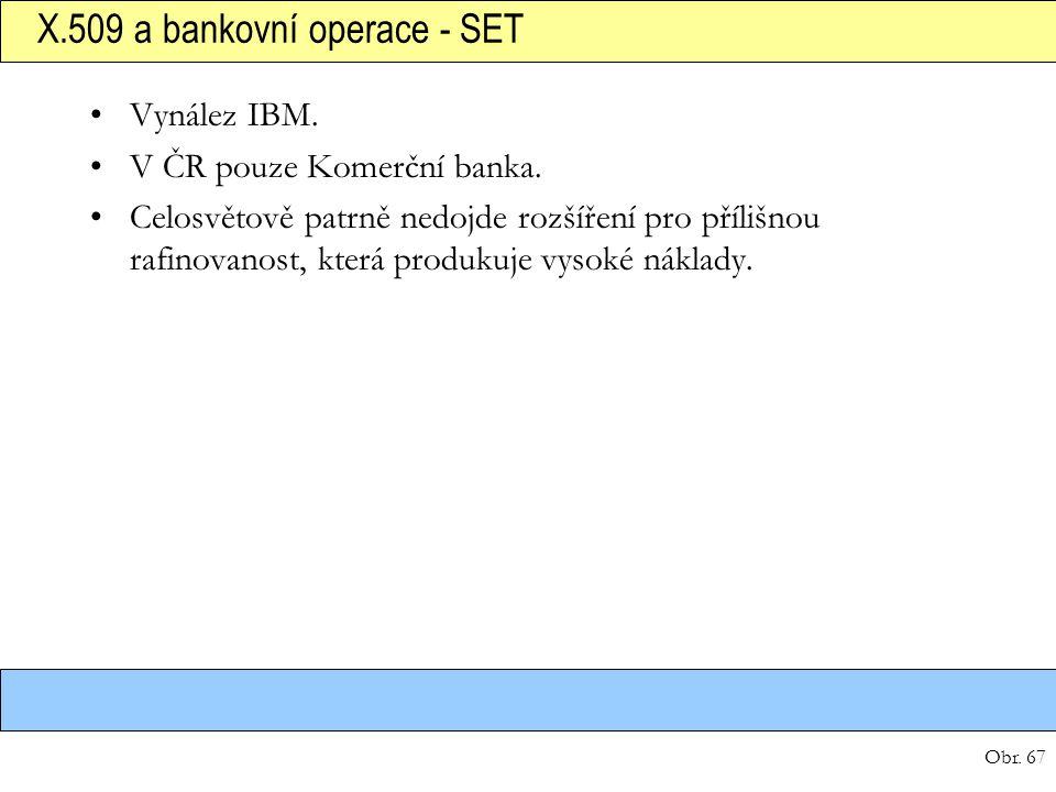 Obr. 67 X.509 a bankovní operace - SET Vynález IBM. V ČR pouze Komerční banka. Celosvětově patrně nedojde rozšíření pro přílišnou rafinovanost, která