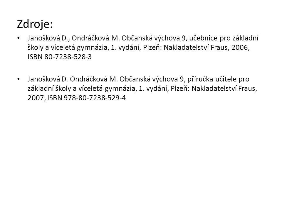 Zdroje: Janošková D., Ondráčková M.