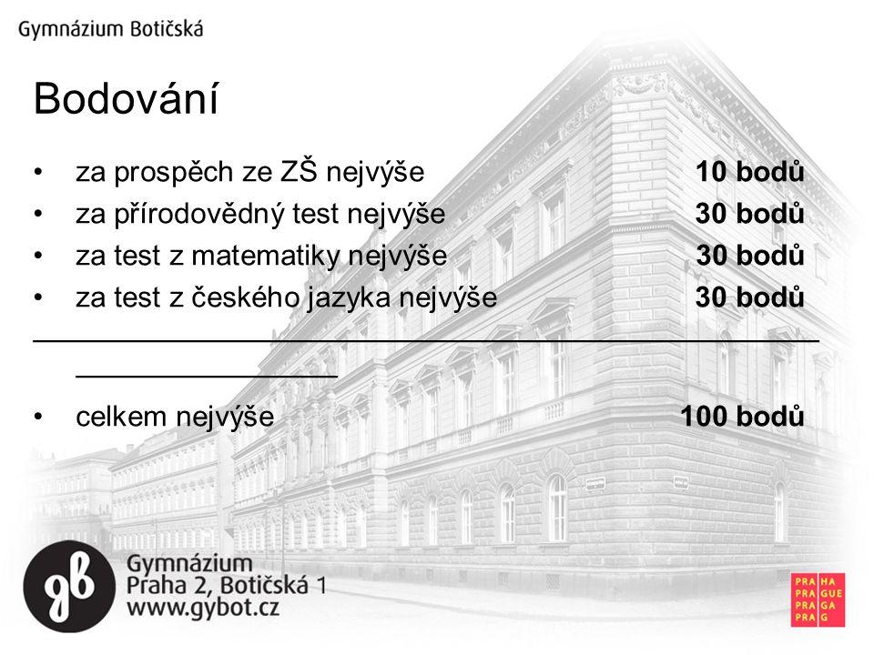 za prospěch ze ZŠ nejvýše 10 bodů za přírodovědný test nejvýše 30 bodů za test z matematiky nejvýše 30 bodů za test z českého jazyka nejvýše 30 bodů ——————————————————————————— ————————— celkem nejvýše100 bodů Bodování