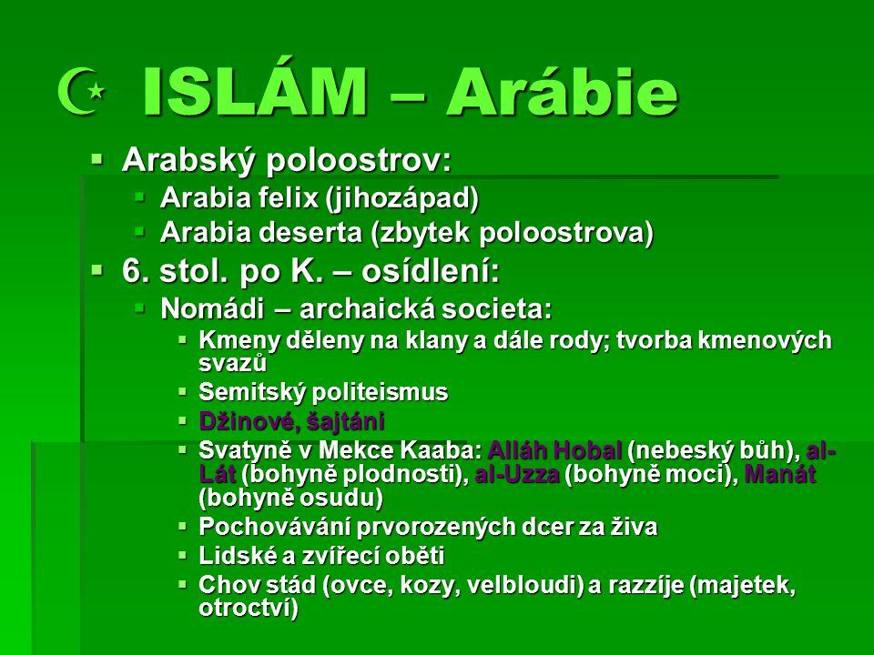  ISLÁM – Arábie  Arabský poloostrov:  Arabia felix (jihozápad)  Arabia deserta (zbytek poloostrova)  6.