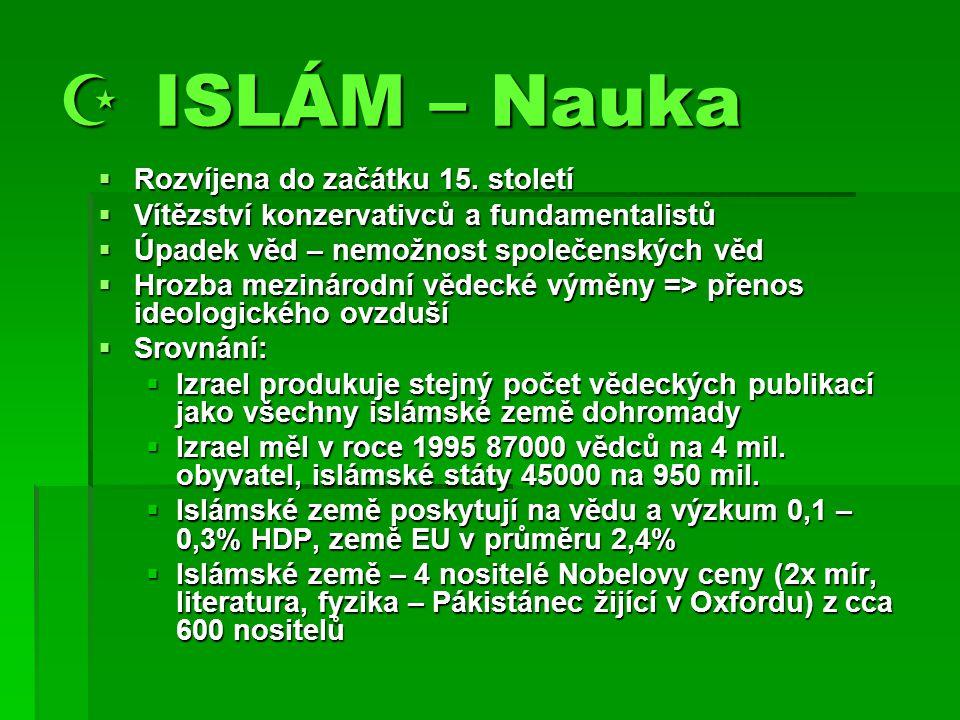  ISLÁM – Nauka  Rozvíjena do začátku 15.