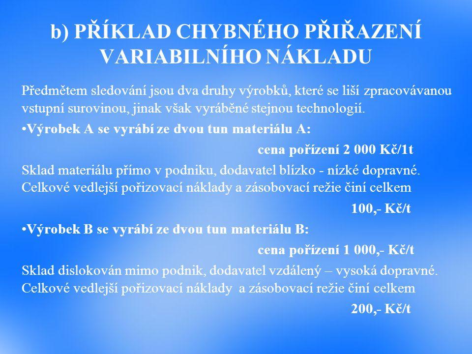 b) PŘÍKLAD CHYBNÉHO PŘIŘAZENÍ VARIABILNÍHO NÁKLADU Předmětem sledování jsou dva druhy výrobků, které se liší zpracovávanou vstupní surovinou, jinak vš