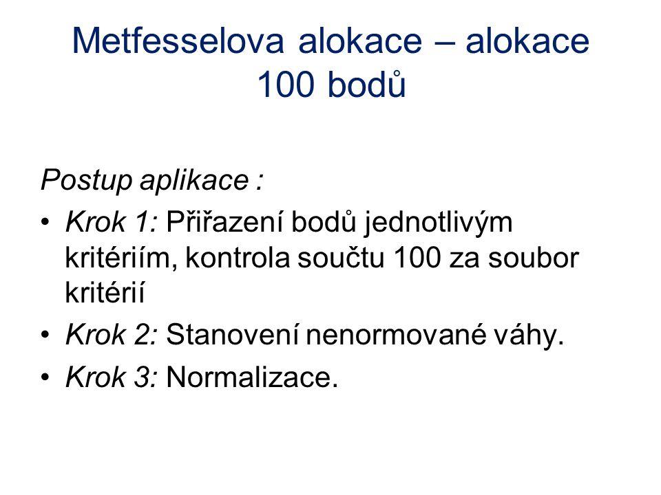 Metfesselova alokace – alokace 100 bodů Postup aplikace : Krok 1: Přiřazení bodů jednotlivým kritériím, kontrola součtu 100 za soubor kritérií Krok 2: