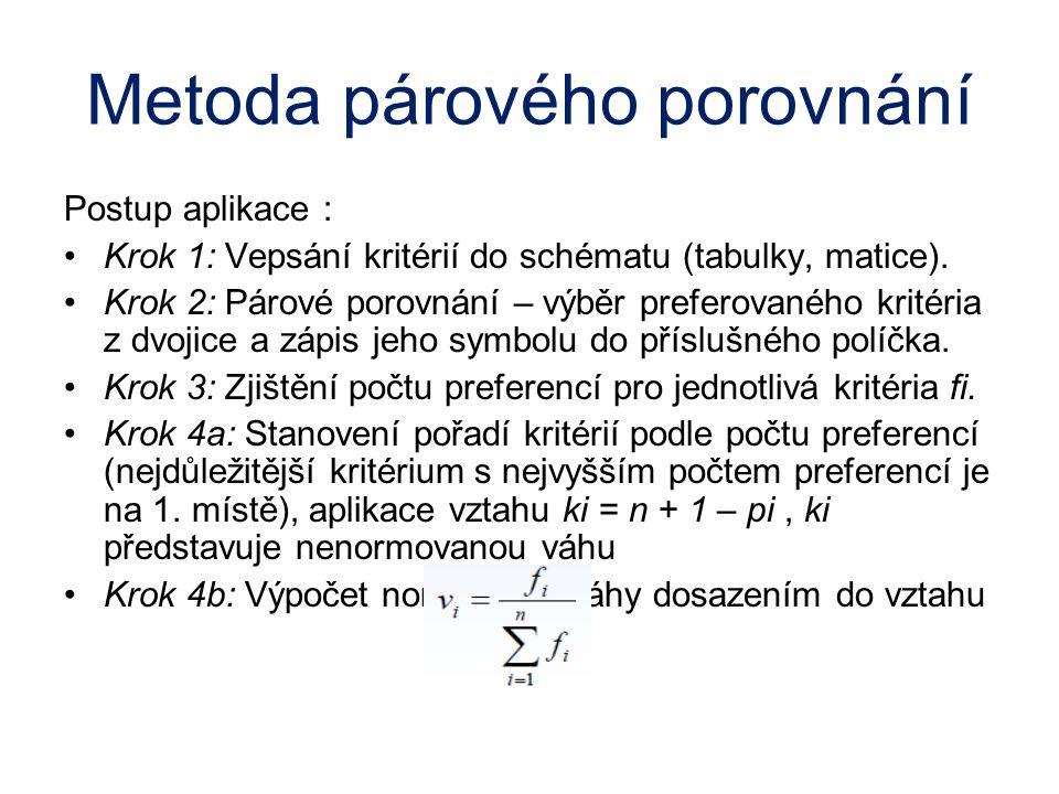 Metoda párového porovnání Postup aplikace : Krok 1: Vepsání kritérií do schématu (tabulky, matice). Krok 2: Párové porovnání – výběr preferovaného kri