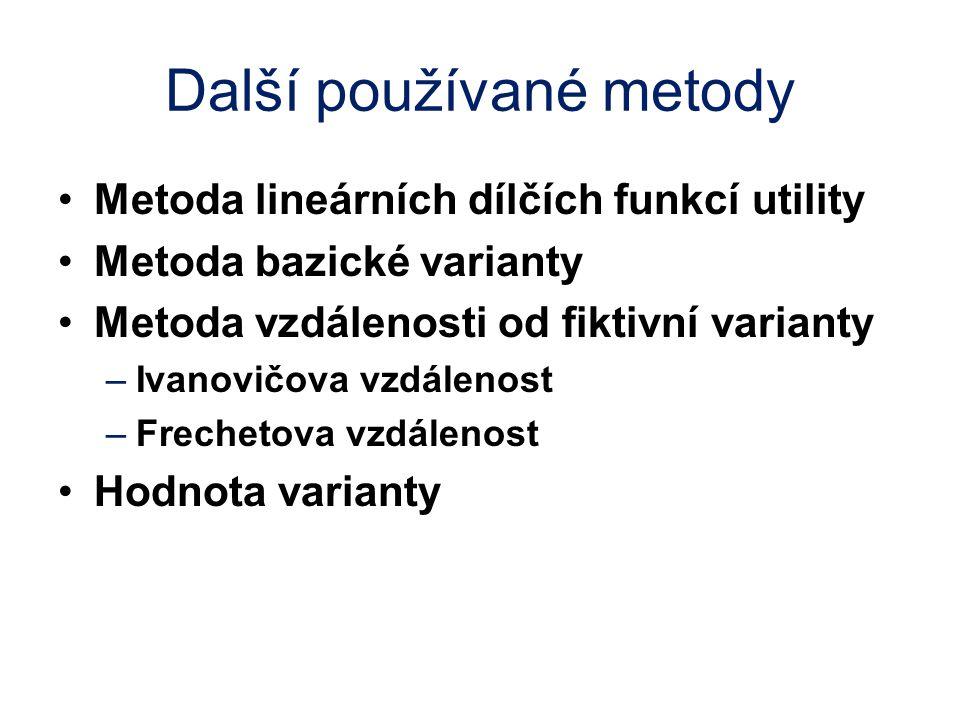 Další používané metody Metoda lineárních dílčích funkcí utility Metoda bazické varianty Metoda vzdálenosti od fiktivní varianty –Ivanovičova vzdálenos