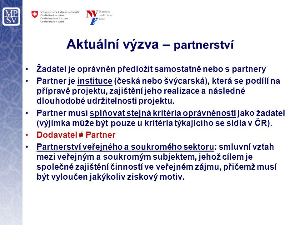 Aktuální výzva – partnerství Žadatel je oprávněn předložit samostatně nebo s partnery Partner je instituce (česká nebo švýcarská), která se podílí na