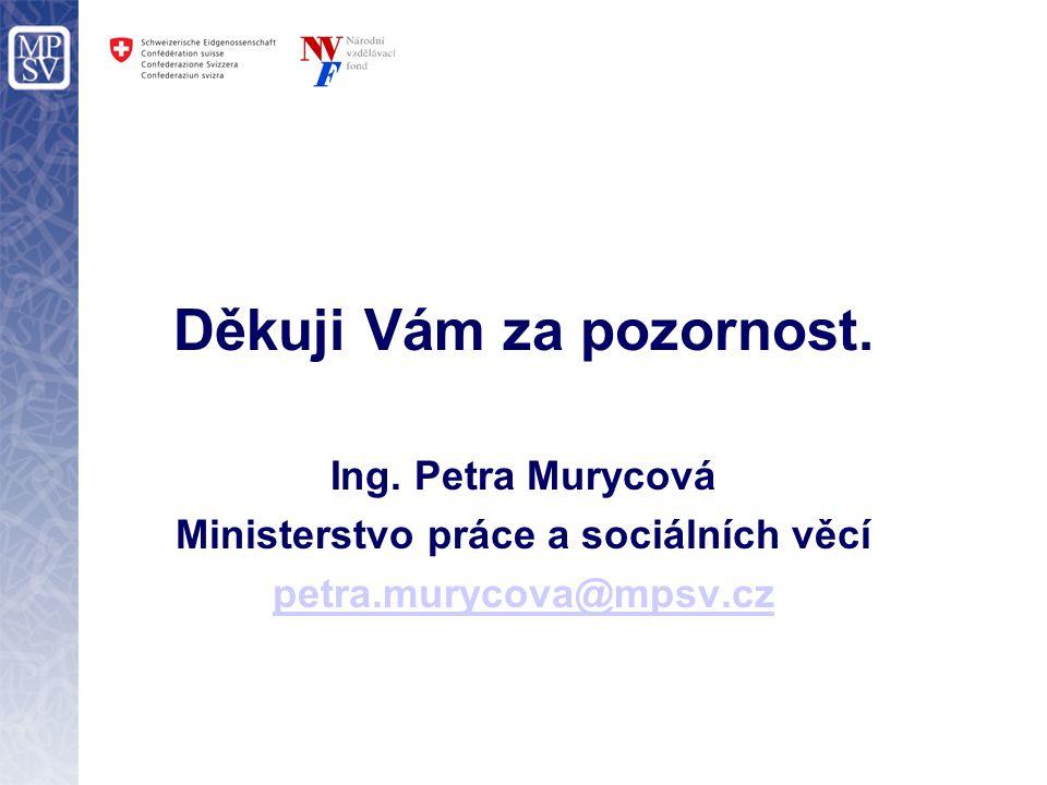 Děkuji Vám za pozornost. Ing. Petra Murycová Ministerstvo práce a sociálních věcí petra.murycova@mpsv.cz