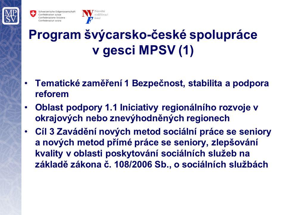 Program švýcarsko-české spolupráce v gesci MPSV (1) Tematické zaměření 1 Bezpečnost, stabilita a podpora reforem Oblast podpory 1.1 Iniciativy regionálního rozvoje v okrajových nebo znevýhodněných regionech Cíl 3 Zavádění nových metod sociální práce se seniory a nových metod přímé práce se seniory, zlepšování kvality v oblasti poskytování sociálních služeb na základě zákona č.
