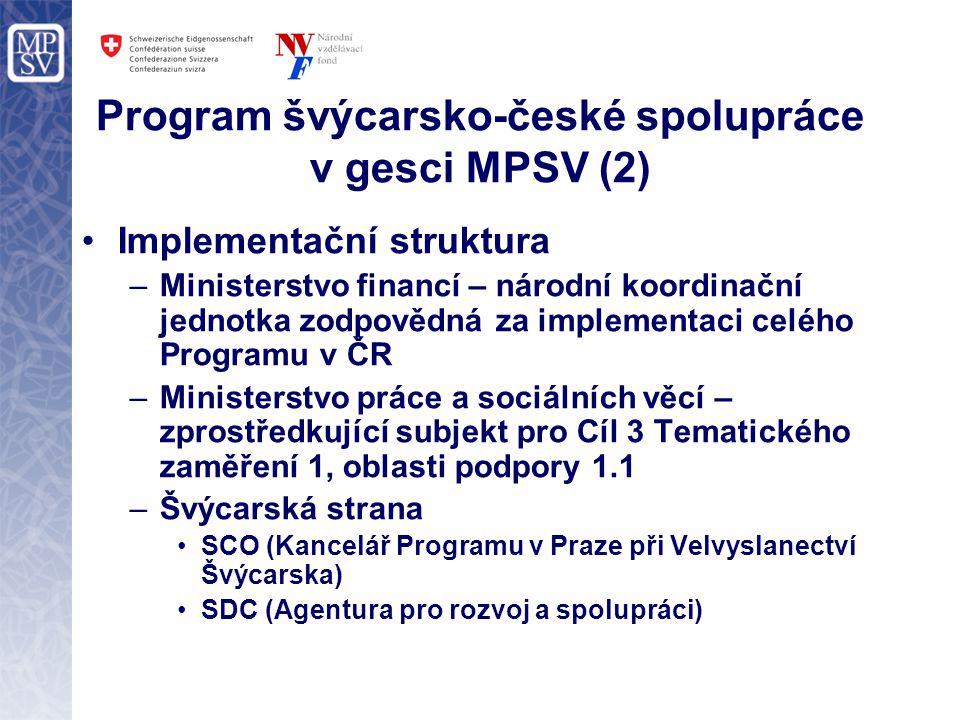 Program švýcarsko-české spolupráce v gesci MPSV (2) Implementační struktura –Ministerstvo financí – národní koordinační jednotka zodpovědná za implementaci celého Programu v ČR –Ministerstvo práce a sociálních věcí – zprostředkující subjekt pro Cíl 3 Tematického zaměření 1, oblasti podpory 1.1 –Švýcarská strana SCO (Kancelář Programu v Praze při Velvyslanectví Švýcarska) SDC (Agentura pro rozvoj a spolupráci)