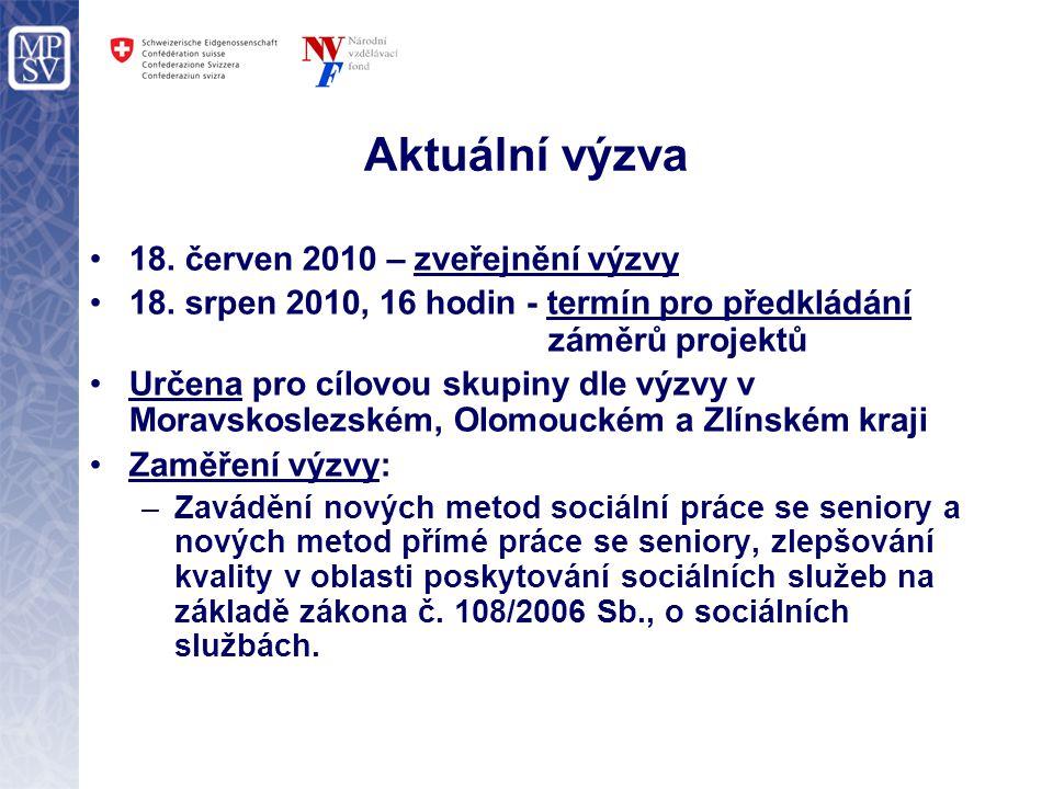 Aktuální výzva 18. červen 2010 – zveřejnění výzvy 18. srpen 2010, 16 hodin - termín pro předkládání záměrů projektů Určena pro cílovou skupiny dle výz