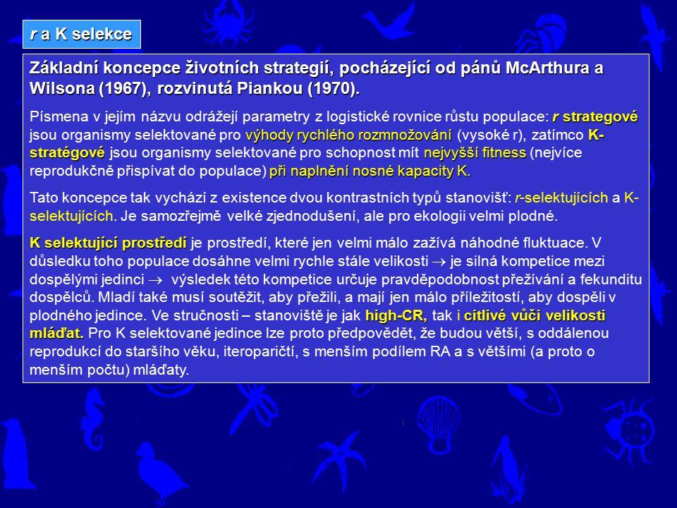 r a K selekce Základní koncepce životních strategií, pocházející od pánů McArthura a Wilsona (1967), rozvinutá Piankou (1970). rstrategové výhody rych