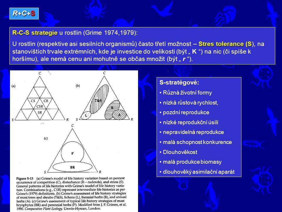 R+C+S R-C-S strategie R-C-S strategie u rostlin (Grime 1974,1979): Stres tolerance (S U rostlin (respektive asi sesilních organismů) často třetí možno