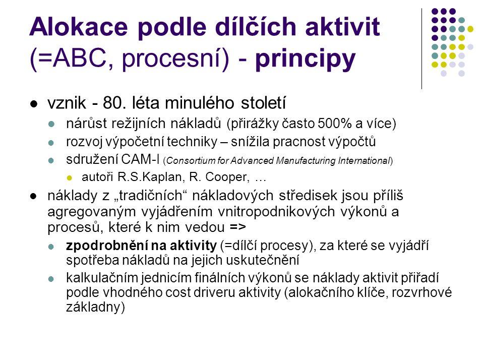 Alokace podle dílčích aktivit (=ABC, procesní) - principy vznik - 80. léta minulého století nárůst režijních nákladů (přirážky často 500% a více) rozv