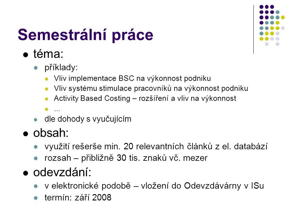 téma: příklady: Vliv implementace BSC na výkonnost podniku Vliv systému stimulace pracovníků na výkonnost podniku Activity Based Costing – rozšíření a