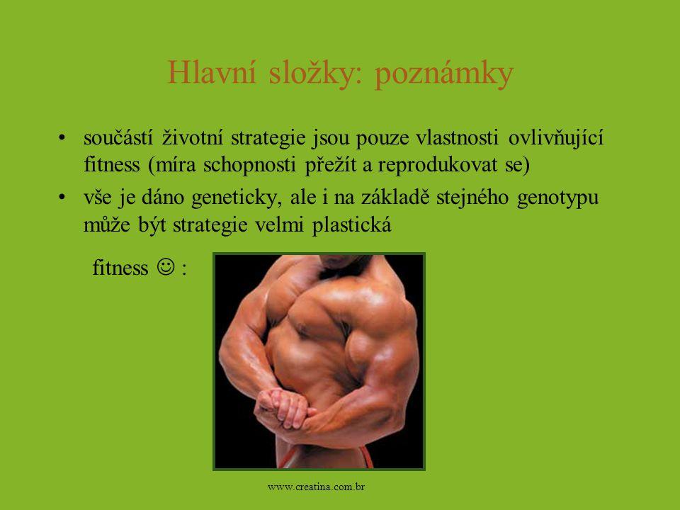 Hlavní složky: poznámky součástí životní strategie jsou pouze vlastnosti ovlivňující fitness (míra schopnosti přežít a reprodukovat se) vše je dáno ge