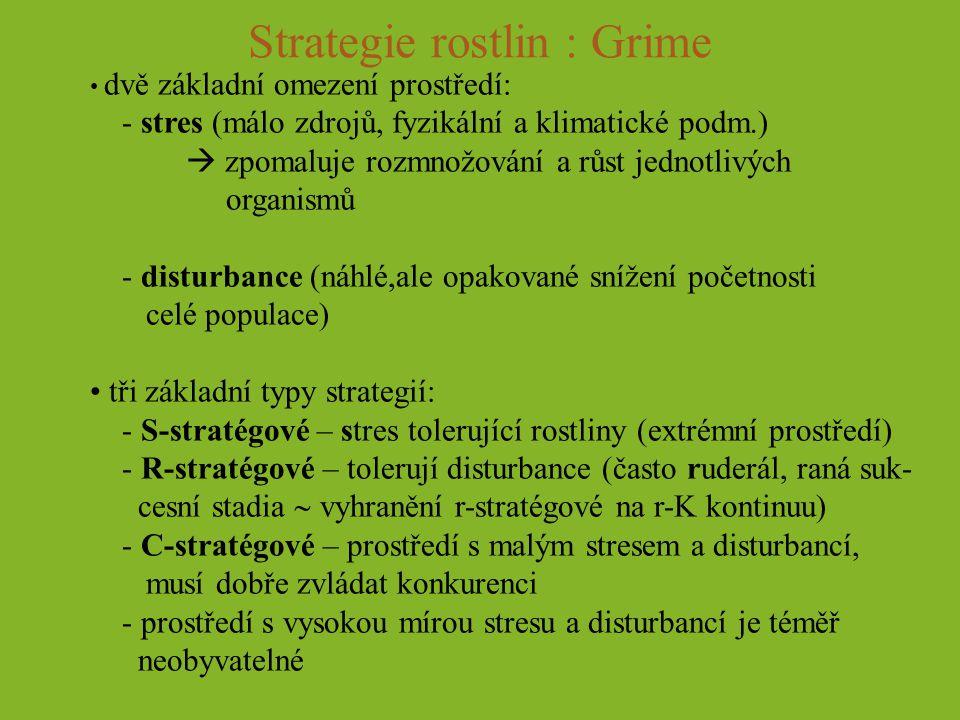 Strategie rostlin : Grime dvě základní omezení prostředí: - stres (málo zdrojů, fyzikální a klimatické podm.)  zpomaluje rozmnožování a růst jednotli