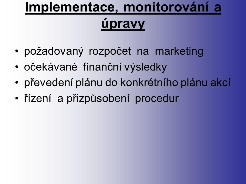 Implementace, monitorování a úpravy požadovaný rozpočet na marketing očekávané finanční výsledky převedení plánu do konkrétního plánu akcí řízení a přizpůsobení procedur
