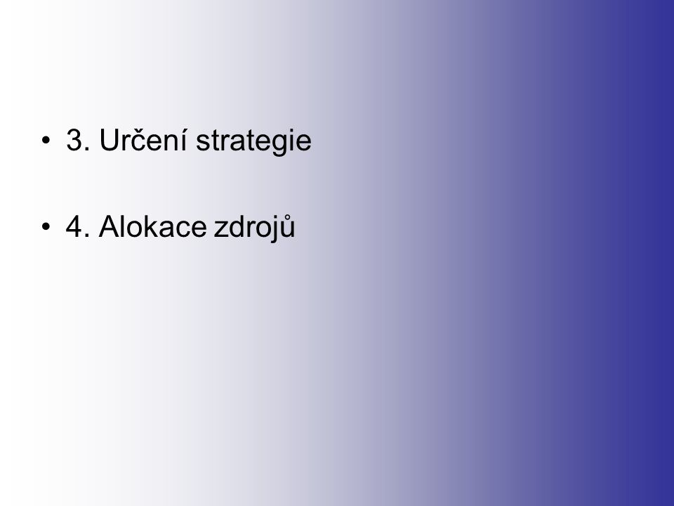 3. Určení strategie 4. Alokace zdrojů