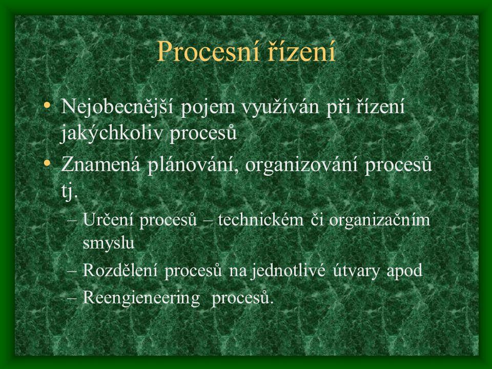 Procesní řízení Nejobecnější pojem využíván při řízení jakýchkoliv procesů Znamená plánování, organizování procesů tj. –Určení procesů – technickém či