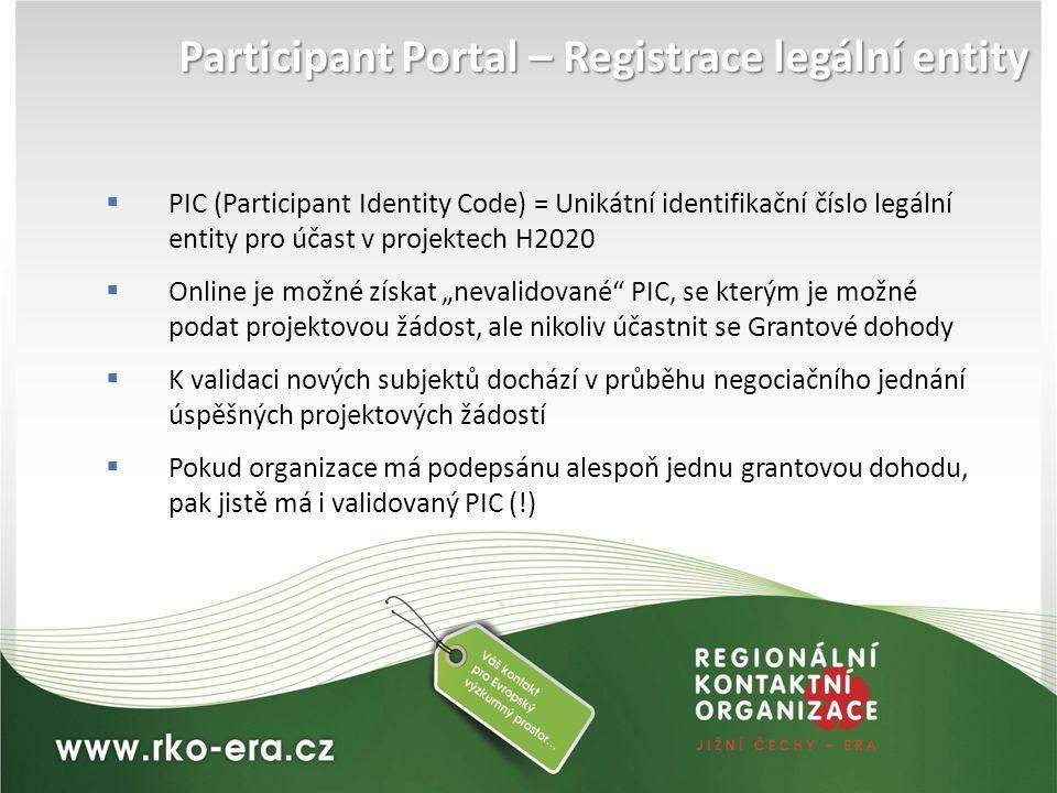 Participant Portal – Registrace legální entity  PIC (Participant Identity Code) = Unikátní identifikační číslo legální entity pro účast v projektech