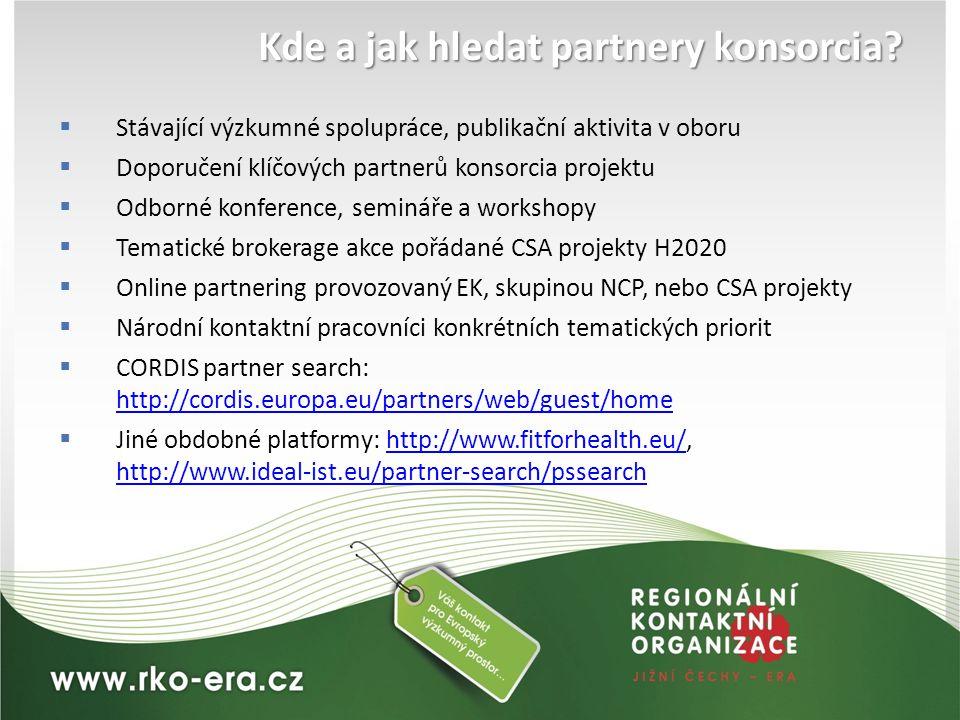 Kde a jak hledat partnery konsorcia?  Stávající výzkumné spolupráce, publikační aktivita v oboru  Doporučení klíčových partnerů konsorcia projektu 