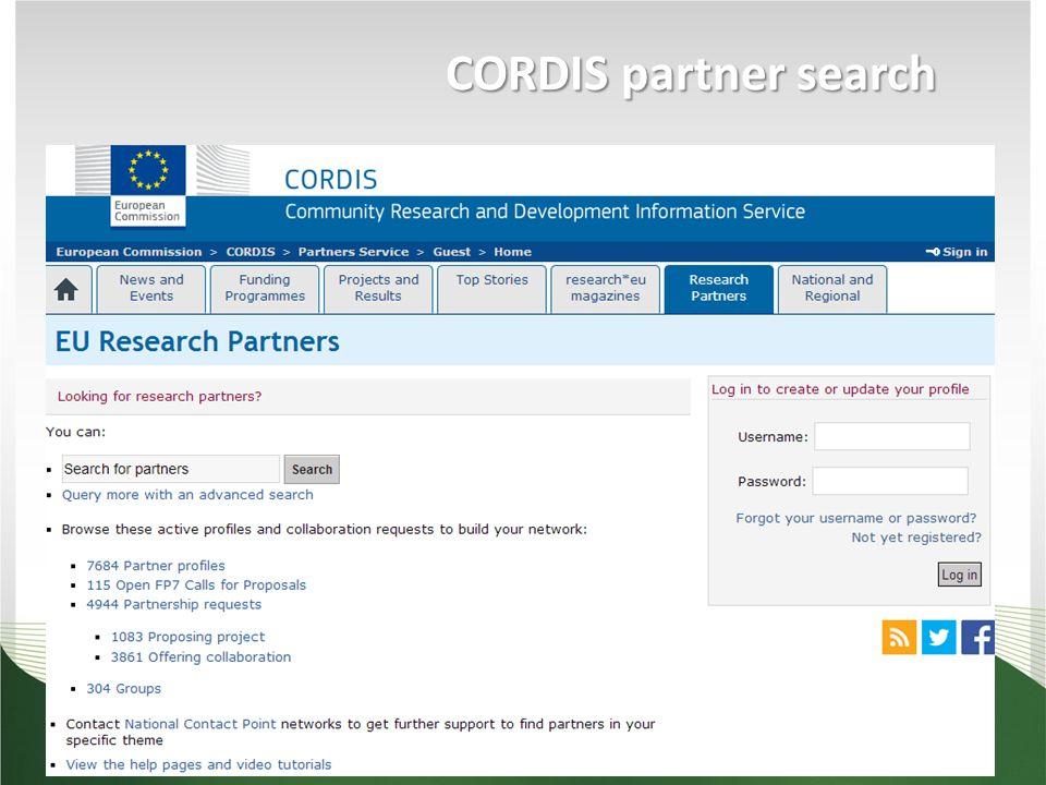 CORDIS partner search