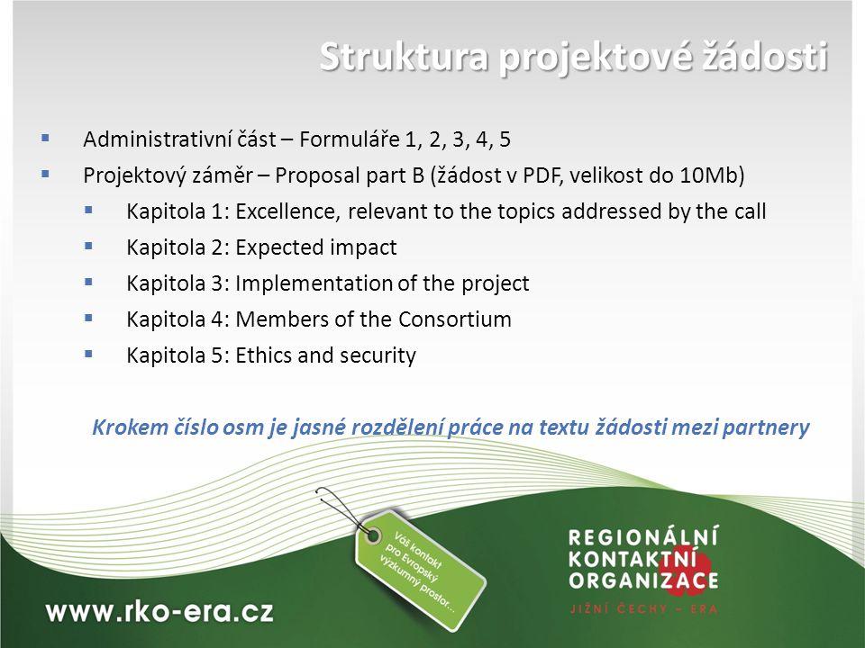 Struktura projektové žádosti  Administrativní část – Formuláře 1, 2, 3, 4, 5  Projektový záměr – Proposal part B (žádost v PDF, velikost do 10Mb) 