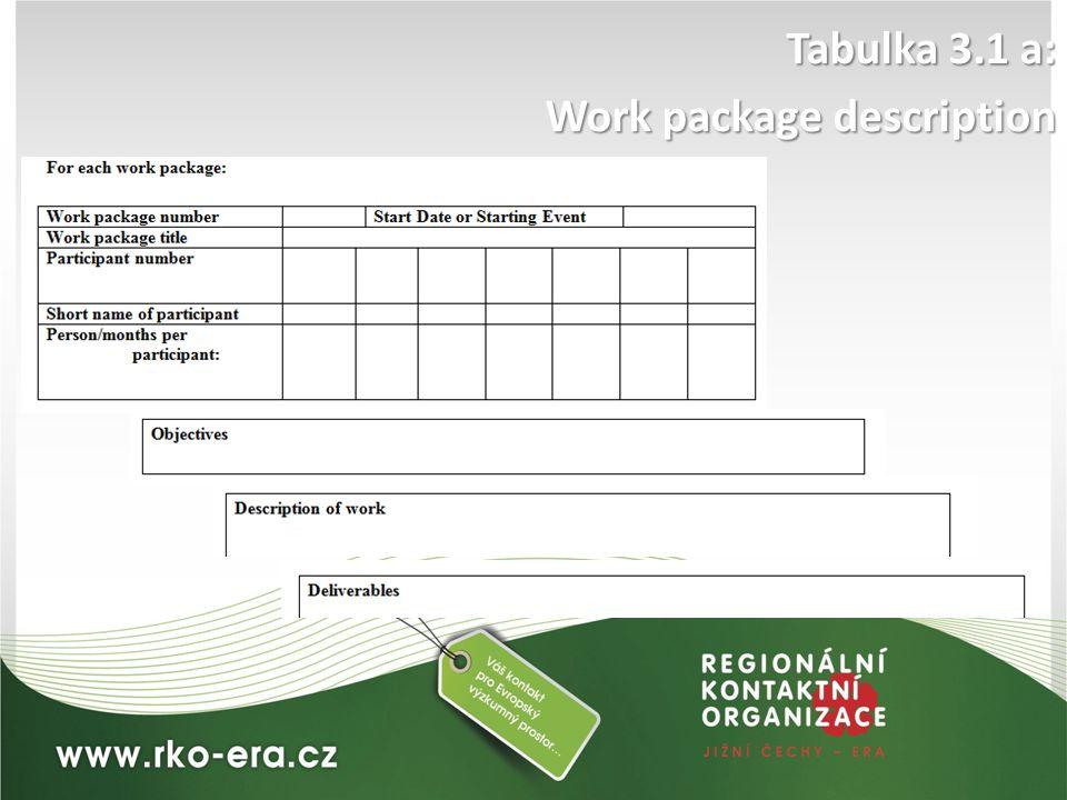 Tabulka 3.1 a: Work package description