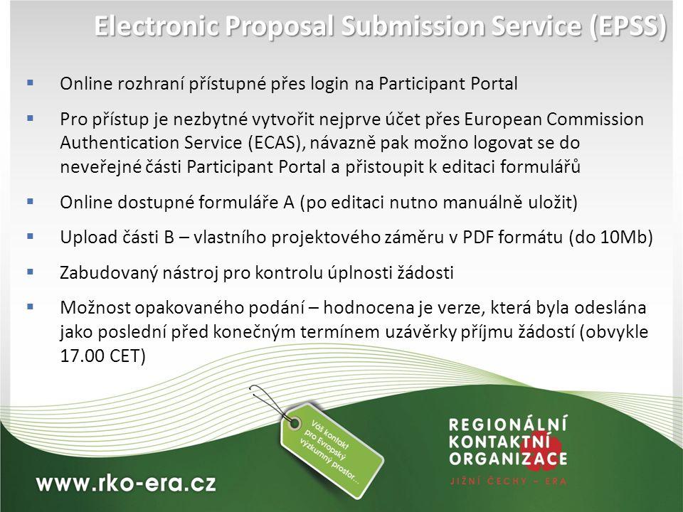 Electronic Proposal Submission Service (EPSS)  Online rozhraní přístupné přes login na Participant Portal  Pro přístup je nezbytné vytvořit nejprve