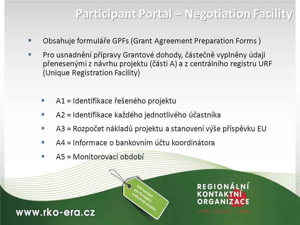  Obsahuje formuláře GPFs (Grant Agreement Preparation Forms )  Pro usnadnění přípravy Grantové dohody, částečně vyplněny údaji přenesenými z návrhu