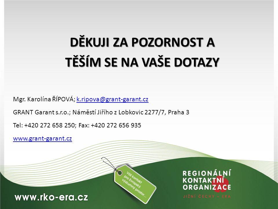 DĚKUJI ZA POZORNOST A TĚŠÍM SE NA VAŠE DOTAZY Mgr. Karolína ŘÍPOVÁ; k.ripova@grant-garant.cz k.ripova@grant-garant.cz GRANT Garant s.r.o.; Náměstí Jiř
