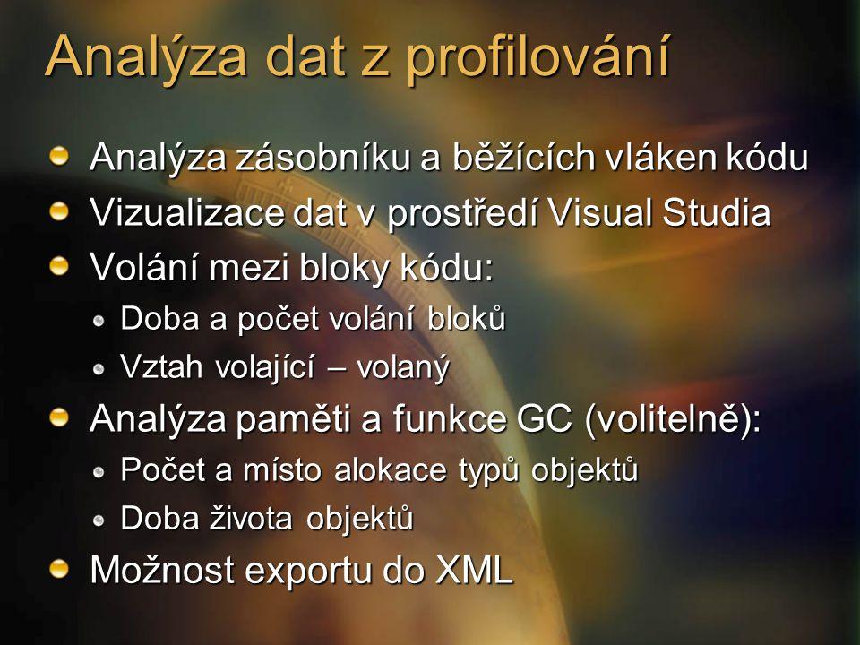 Analýza zásobníku a běžících vláken kódu Vizualizace dat v prostředí Visual Studia Volání mezi bloky kódu: Doba a počet volání bloků Vztah volající – volaný Analýza paměti a funkce GC (volitelně): Počet a místo alokace typů objektů Doba života objektů Možnost exportu do XML Analýza dat z profilování