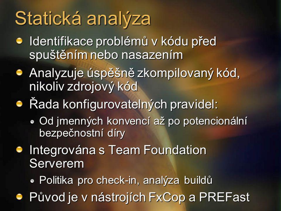 Statická analýza Identifikace problémů v kódu před spuštěním nebo nasazením Analyzuje úspěšně zkompilovaný kód, nikoliv zdrojový kód Řada konfigurovatelných pravidel: Od jmenných konvencí až po potencionální bezpečnostní díry Integrována s Team Foundation Serverem Politika pro check-in, analýza buildů Původ je v nástrojích FxCop a PREFast