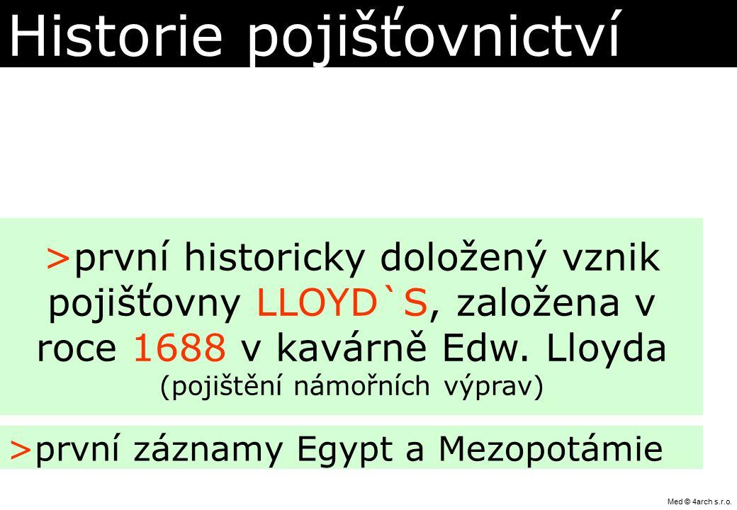 Historie pojišťovnictví >první záznamy Egypt a Mezopotámie >první historicky doložený vznik pojišťovny LLOYD`S, založena v roce 1688 v kavárně Edw. Ll