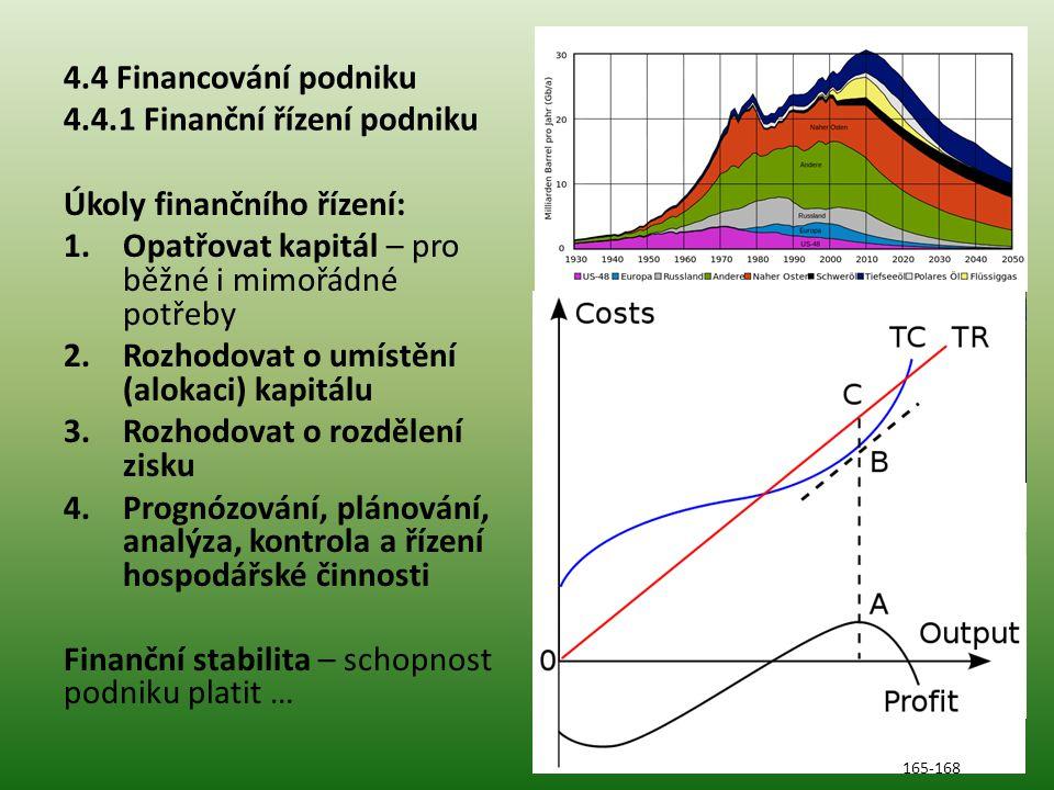 4.4 Financování podniku 4.4.1 Finanční řízení podniku Úkoly finančního řízení: 1.Opatřovat kapitál – pro běžné i mimořádné potřeby 2.Rozhodovat o umístění (alokaci) kapitálu 3.Rozhodovat o rozdělení zisku 4.Prognózování, plánování, analýza, kontrola a řízení hospodářské činnosti Finanční stabilita – schopnost podniku platit … 165-168