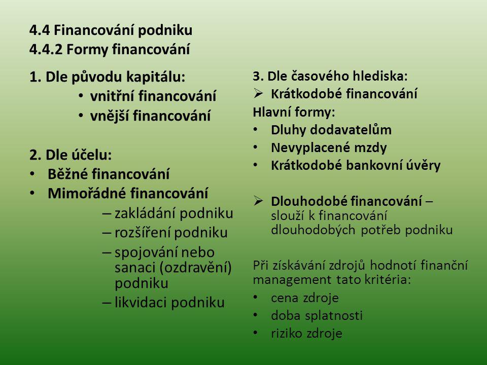 4.4 Financování podniku 4.4.2 Formy financování 1.