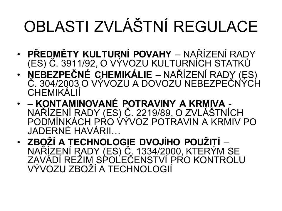 OBLASTI ZVLÁŠTNÍ REGULACE PŘEDMĚTY KULTURNÍ POVAHY – NAŘÍZENÍ RADY (ES) Č.