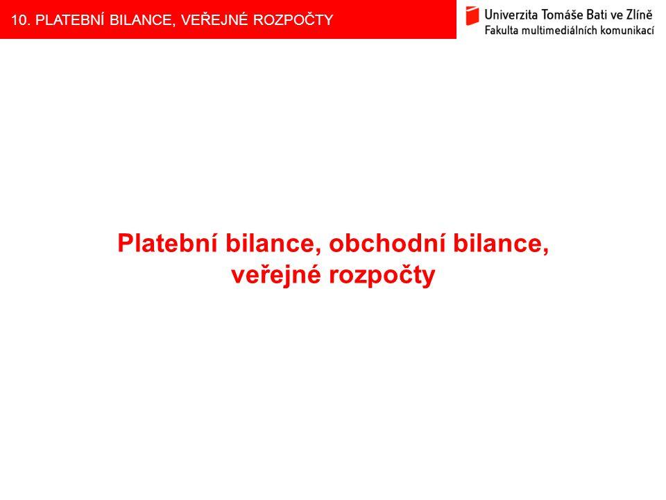10. PLATEBNÍ BILANCE, VEŘEJNÉ ROZPOČTY Platební bilance, obchodní bilance, veřejné rozpočty