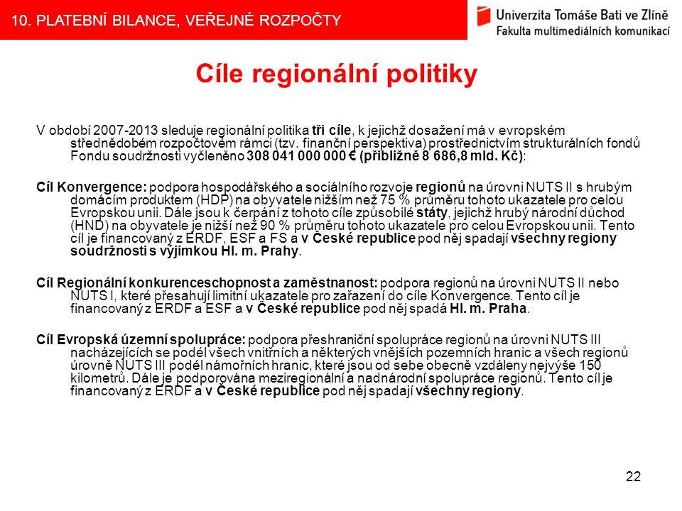 10. PLATEBNÍ BILANCE, VEŘEJNÉ ROZPOČTY 22 Cíle regionální politiky V období 2007-2013 sleduje regionální politika tři cíle, k jejichž dosažení má v ev