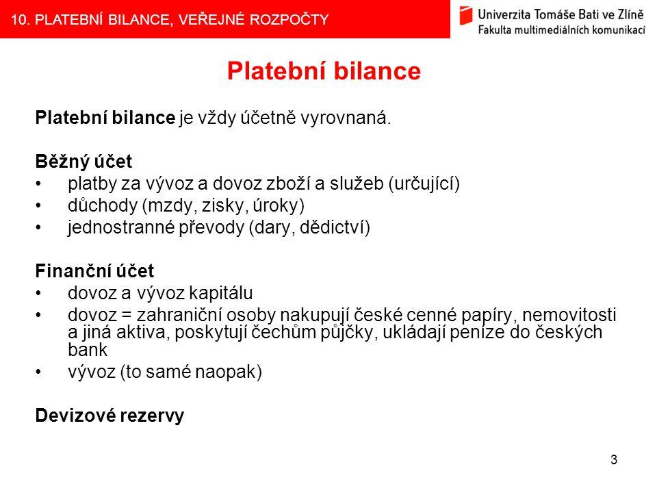 10. PLATEBNÍ BILANCE, VEŘEJNÉ ROZPOČTY 3 Platební bilance Platební bilance je vždy účetně vyrovnaná. Běžný účet platby za vývoz a dovoz zboží a služeb