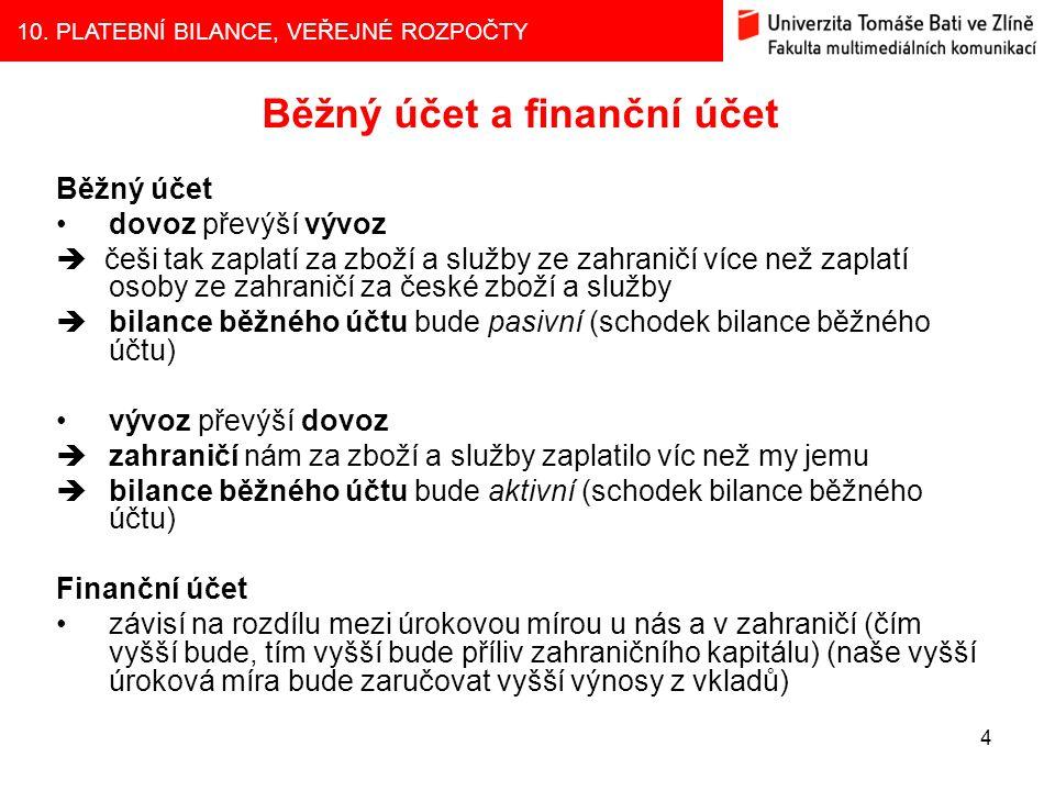 10. PLATEBNÍ BILANCE, VEŘEJNÉ ROZPOČTY 4 Běžný účet a finanční účet Běžný účet dovoz převýší vývoz  češi tak zaplatí za zboží a služby ze zahraničí v