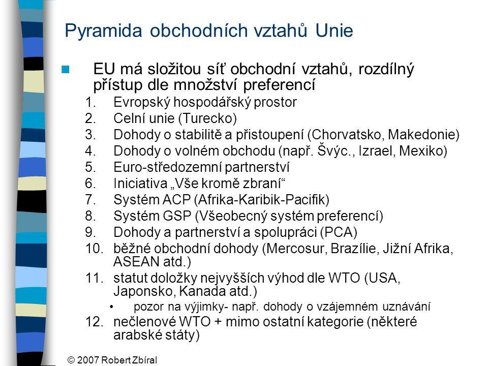 © 2007 Robert Zbíral Pyramida obchodních vztahů Unie EU má složitou síť obchodní vztahů, rozdílný přístup dle množství preferencí 1.Evropský hospodářský prostor 2.Celní unie (Turecko) 3.Dohody o stabilitě a přistoupení (Chorvatsko, Makedonie) 4.Dohody o volném obchodu (např.