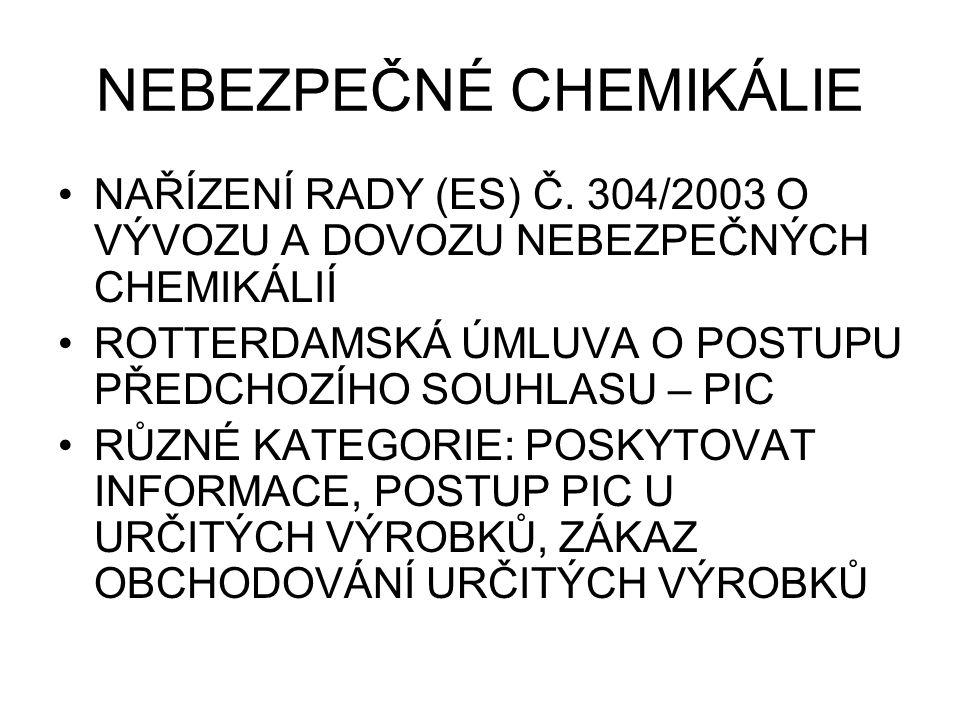 NEBEZPEČNÉ CHEMIKÁLIE NAŘÍZENÍ RADY (ES) Č. 304/2003 O VÝVOZU A DOVOZU NEBEZPEČNÝCH CHEMIKÁLIÍ ROTTERDAMSKÁ ÚMLUVA O POSTUPU PŘEDCHOZÍHO SOUHLASU – PI