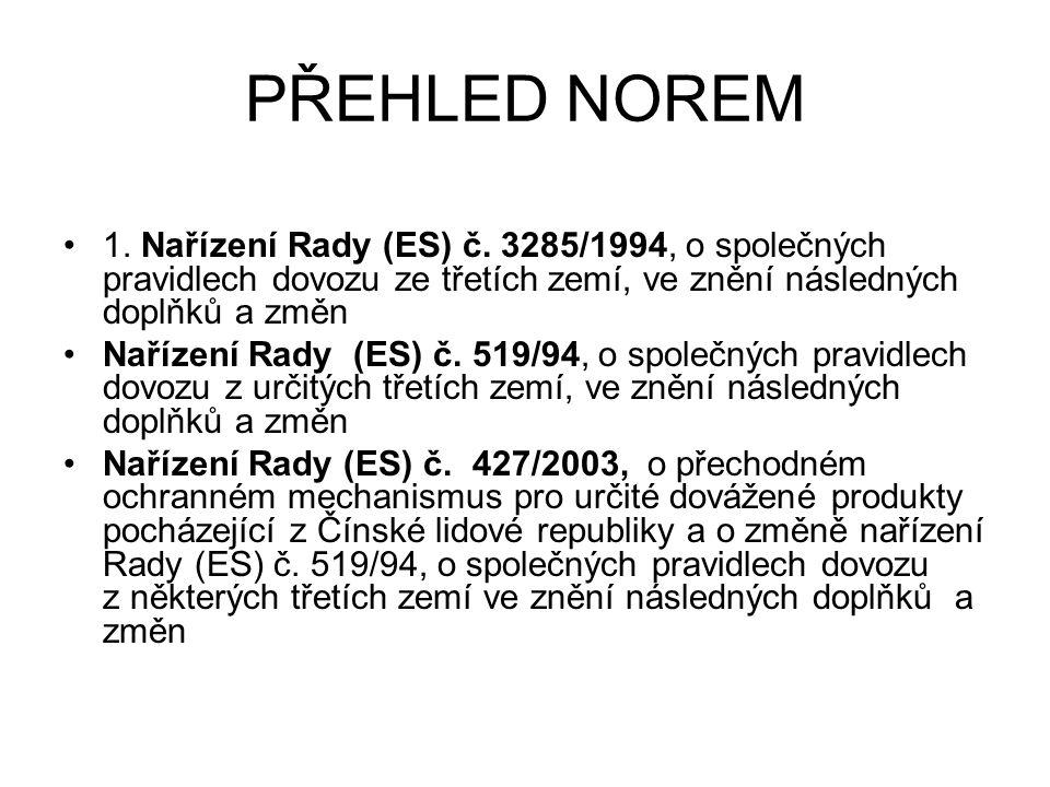 PŘEHLED NOREM 1. Nařízení Rady (ES) č. 3285/1994, o společných pravidlech dovozu ze třetích zemí, ve znění následných doplňků a změn Nařízení Rady (ES