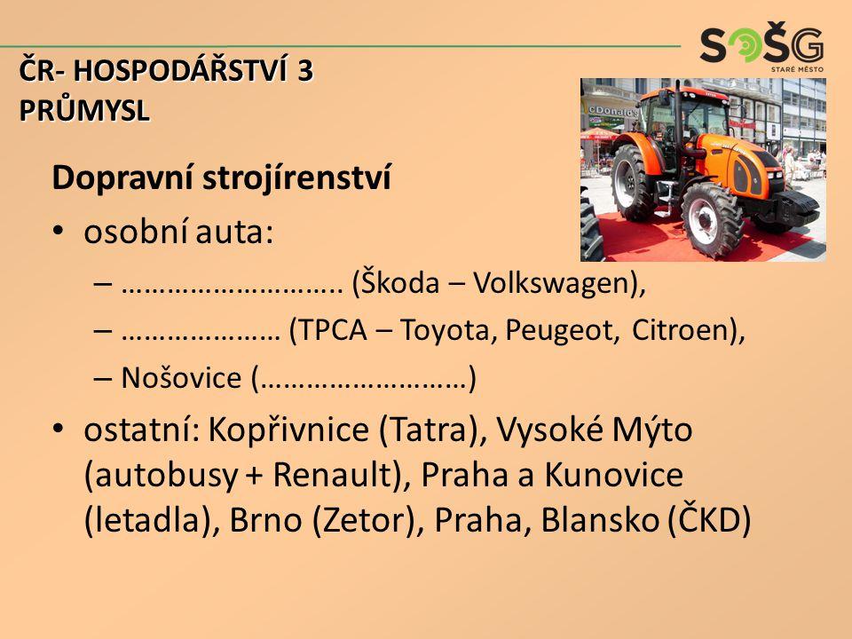 Dopravní strojírenství osobní auta: – ………………………..