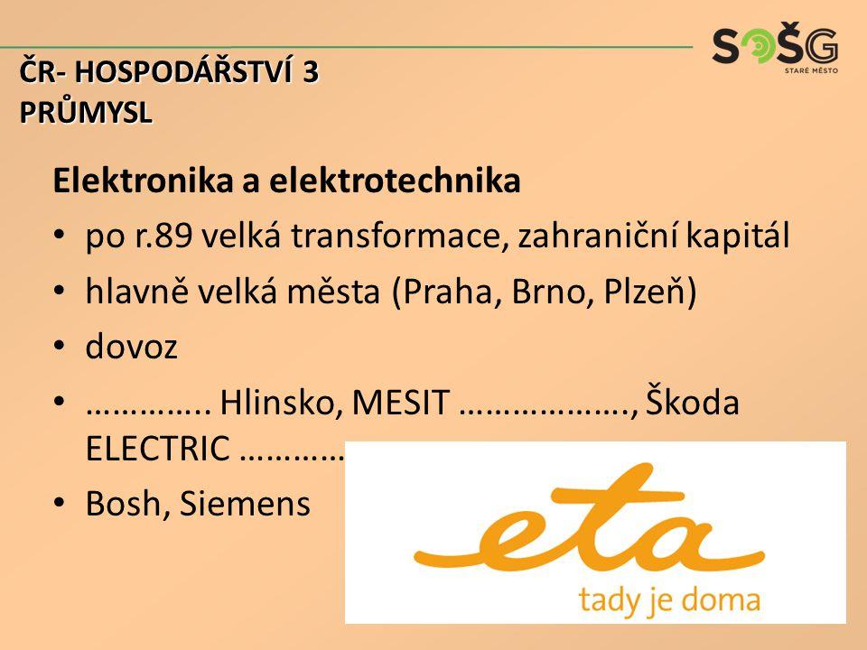 Elektronika a elektrotechnika po r.89 velká transformace, zahraniční kapitál hlavně velká města (Praha, Brno, Plzeň) dovoz …………..