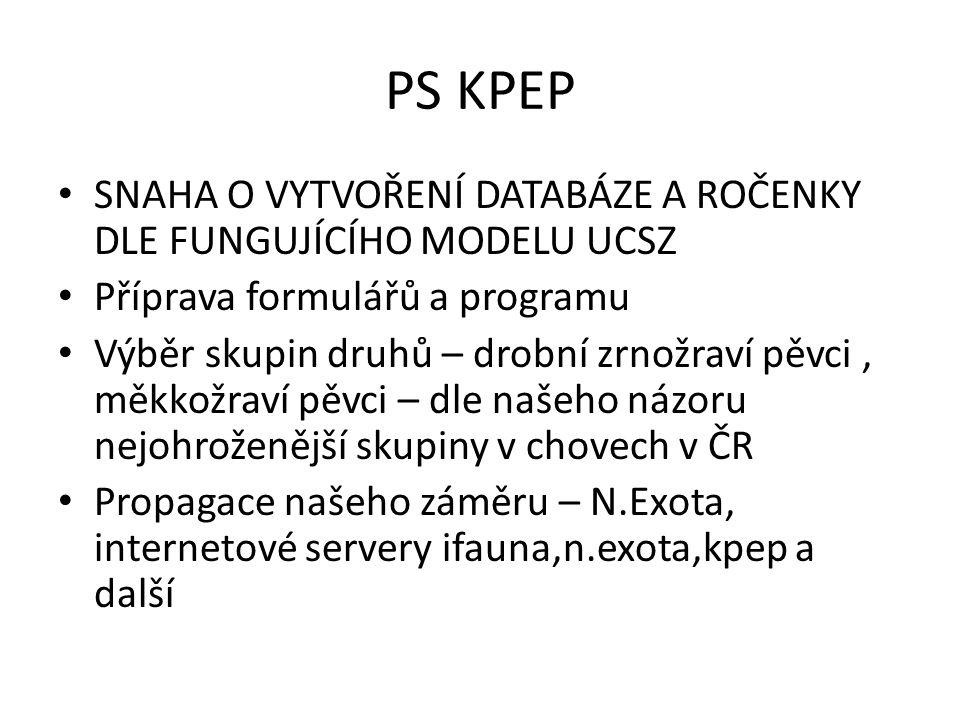 PS KPEP – získávání dat Ročenky UCSZ Adresáře stávajících organizací Internetové adresáře chovatelských webů Dosud neorganizovaní chovatelé, kteří zareagovali na výzvy k vytvoření databáze