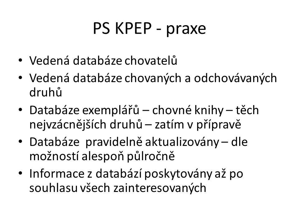 PS KPEP - praxe Vedená databáze chovatelů Vedená databáze chovaných a odchovávaných druhů Databáze exemplářů – chovné knihy – těch nejvzácnějších druh